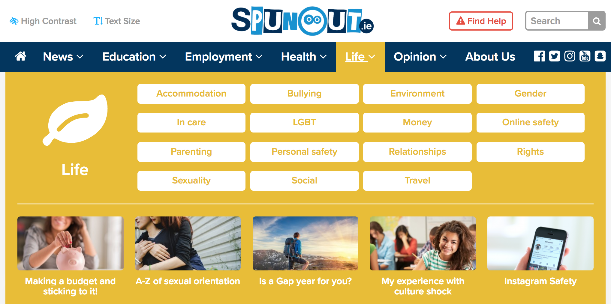 An image of spunout.ie life tab