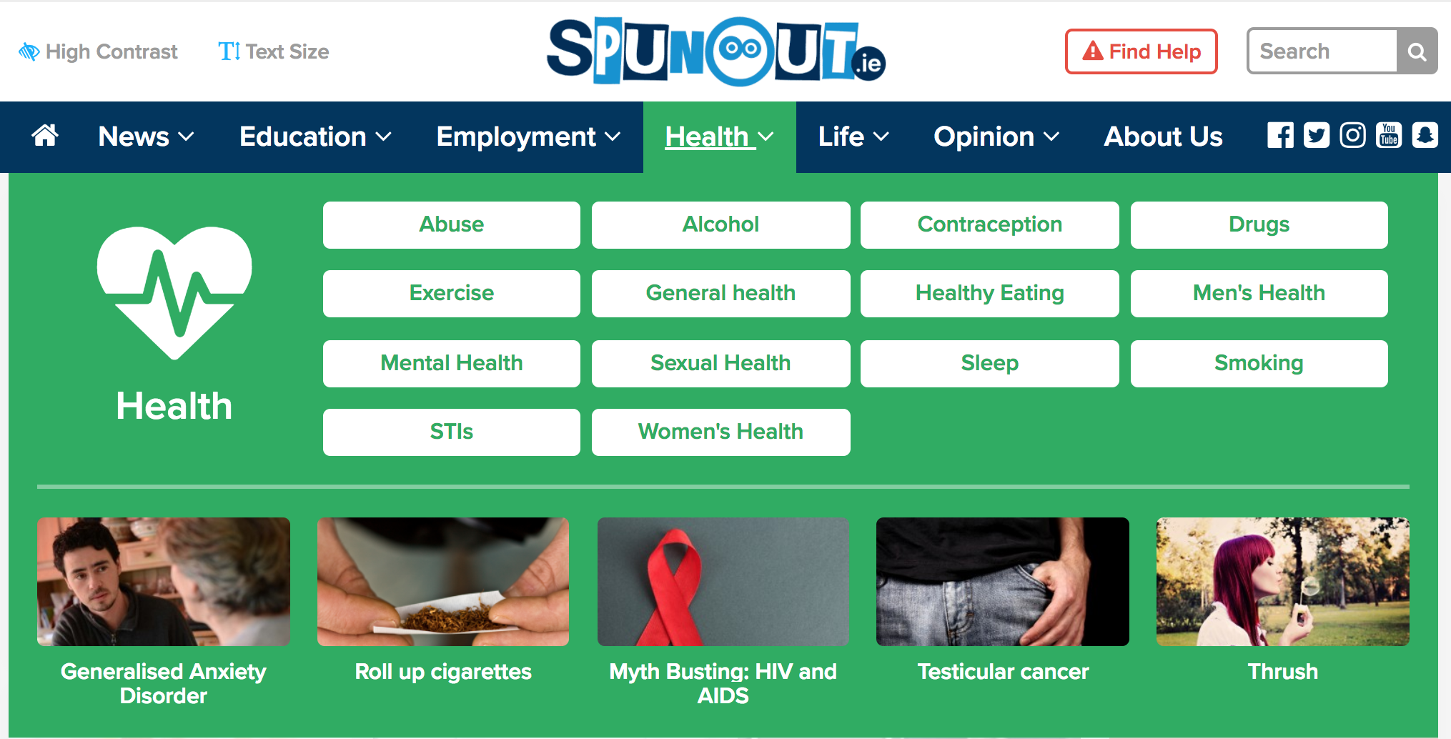 An image of Spunout.ie health tab